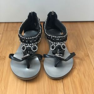 Leather sandals with rhinestone embellishment